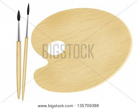 Painter palette and two art brushes on white background