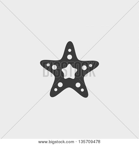 Starfish icon in a flat design in black color. Vector illustration eps10