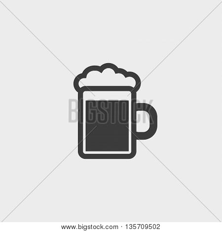 Beer glass icon fish icon in a flat design in black color. Vector illustration eps10