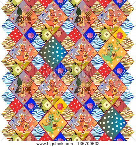 Childish seamless patchwork pattern with fairy dragons, butterflies, flowers, dots and waves. Colorful vector illustration of quilt.