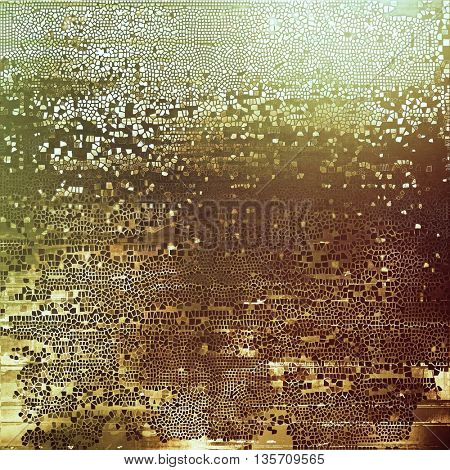 Vintage frame, grunge background with old style decor elements and different color patterns: yellow (beige); brown; gray; green; white