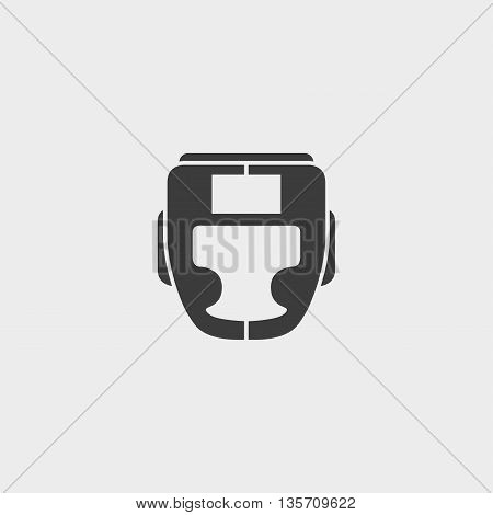 Boxing helmet icon fish icon in a flat design in black color. Vector illustration eps10