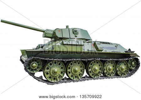 Soviet tank T-34/57. isolated on white background