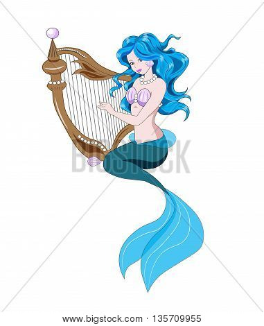 The Little Mermaid with blue hair plays a harp