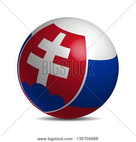 Slovakia flag on a 3d ball with shadow, vector illustration