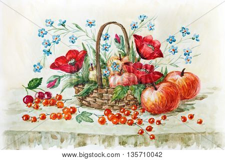 rural still life red poppies wild flowers and apples in the basket. watercolor painting. Illustration