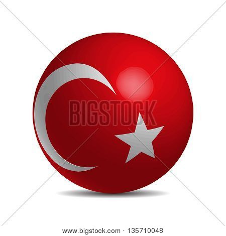 Turkey flag on a 3d ball with shadow, vector illustration
