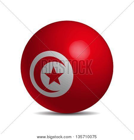 Tunisia flag on a 3d ball with shadow, vector illustration