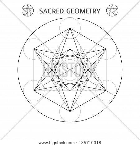 Metatrons cube vector illustration sacred geometry symbol