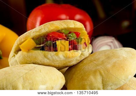homemade tortillas pita stuffed with vegetables. Flour products.