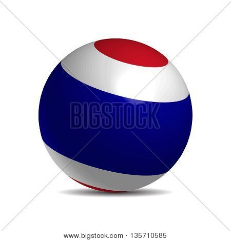 Thailand flag on a 3d ball with shadow, vector illustration