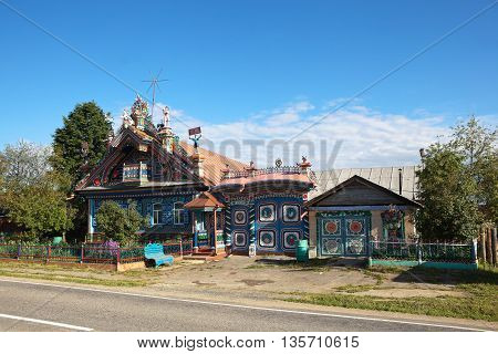 KUNARA, SVERDLOVSK REGION, RUSSIA - JUNE 15, 2016: Photo of Unusual, beautiful house in the Russian village.