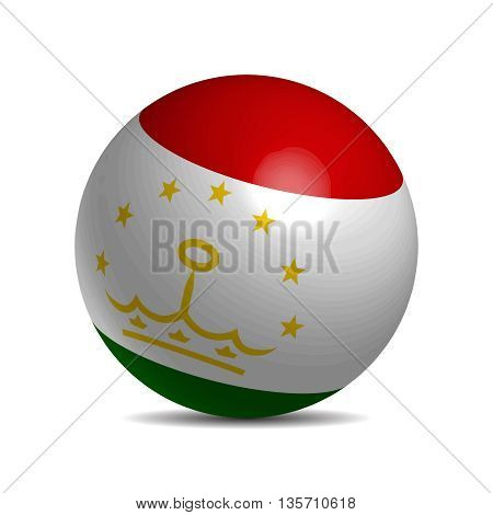 Tajikistan flag on a 3d ball with shadow, vector illustration