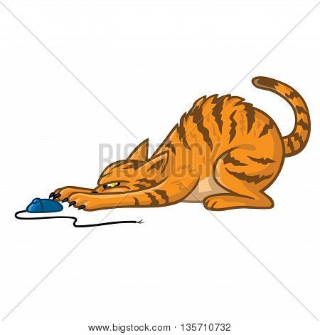 Cat Playing With Computer Mouse Vector Cartoon