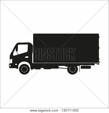 Black silhouette of a truck on a white background. Vector illustration