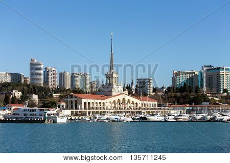 Sochi, Russia - February 9, 2016: Marine station - station complex Port of Sochi in the central region of Sochi, Krasnodar Krai, Russia.