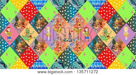 Childish seamless patchwork pattern. Fairy vector illustration. Quilting design for kids.