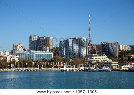 Sochi, Russia - February 9, 2016: Sochi, Russia - February 9, 2016: Modern architecture on the coast Black Sea in city Sochi
