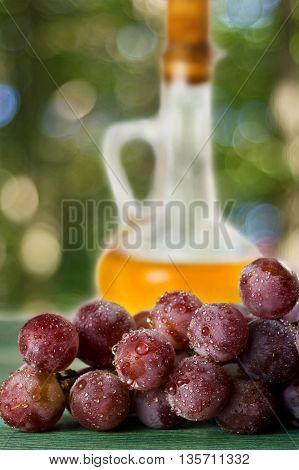 Grape seed oil in a glass jar