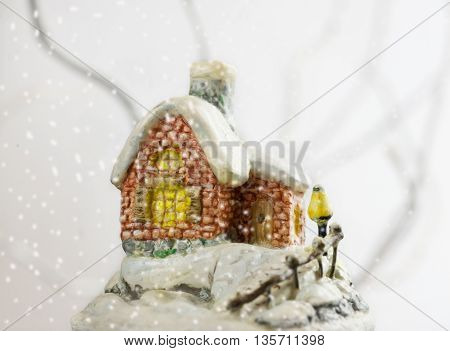 snow covered house. Сhristmas background. Christmas toy.