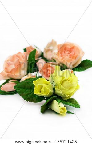 Roses. Artificial flowers made from sponge rubber