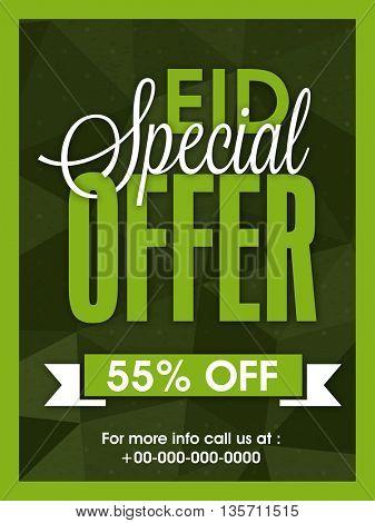 Eid Special Offer Sale Poster, Sale Banner, Sale Flyer, Discount upto 55% Off, Vector Illustration.