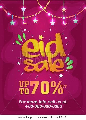 Elegant Pink Eid Sale Poster, Sale Banner, Sale Flyer, Save upto 70% Off, Vector Illustration with glowing Stars and Moons.