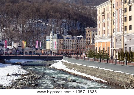 Sochi, Russia - February 10, 2016: Rosa Khutor Alpine Resort. Krasnaya Polyana, Krasnodar region, Sochi, Russia. Constructed from 2003 to 2011