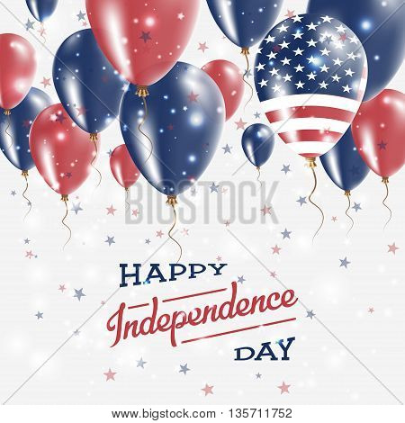 United States Vector Patriotic Poster. Independence Day Placard With Bright Colorful Balloons Of Cou