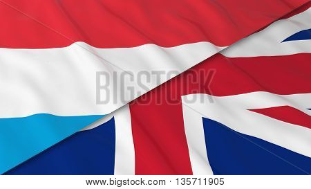 Flags Of Luxembourg And The United Kingdom - Split Luxembourgish Flag And British Flag 3D Illustrati