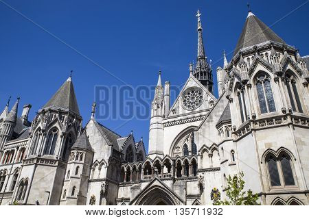 A view of the magnificent architecture of the Royal Courts of Justice in London.