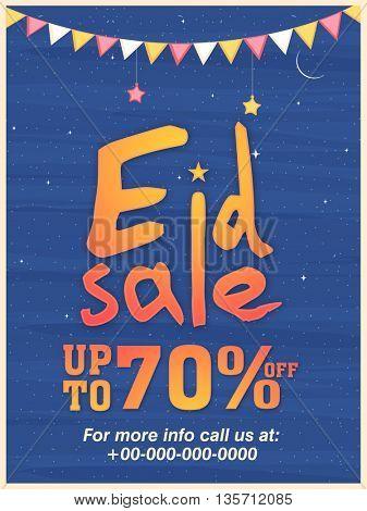 Stylish Eid Sale Poster, Sale Banner, Sale Flyer, Save upto 70% Off, Sale Vector Illustration.