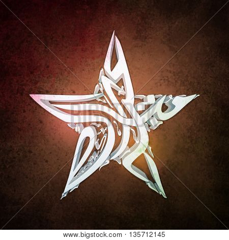 3D Arabic Islamic Calligraphy of text Eid Mubarak in Creative Star Shape on abstract grungy background.