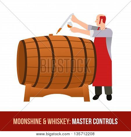 Moonshine And Whiskey. Oak Barrel.