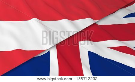 Flags Of Austria And The United Kingdom - Split Austrian Flag And British Flag 3D Illustration