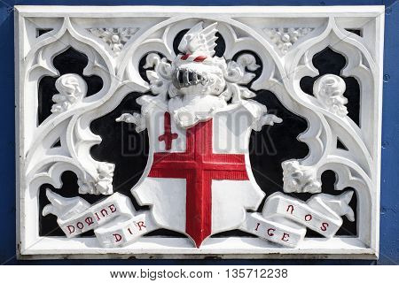 The City of London Domine Dirige Nos motto on Tower Bridge - the latin motto means Lord Guide Us.
