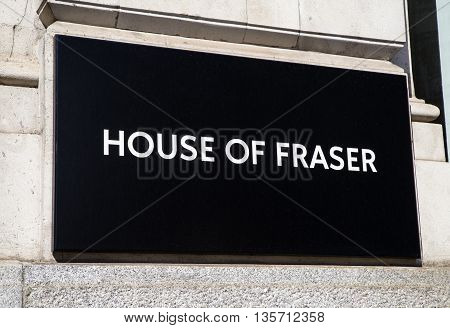 LONDON UK - MAY 4TH 2016: The logo on the exterior of the House of Fraser department store on King William Street in central London on 4th May 2016.