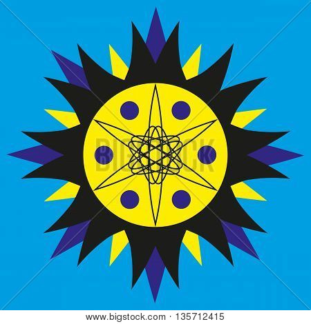 Sunny yellow-blue logo with dots on a blue background