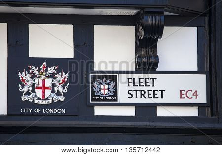 A street sign for Fleet Street in the City of London.