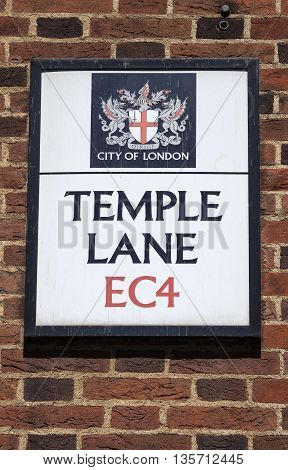 LONDON UK - MAY 4TH 2016: A street sign for Temple Lane in the City of London on 4th May 2016.