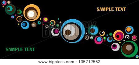 Black background with colored circles. Graphic arts
