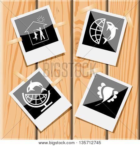 Animal set. Photo frames on wooden desk. Vector icons.