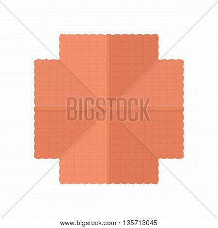 Highly detailed house building top view icon in cartoon style on a white background