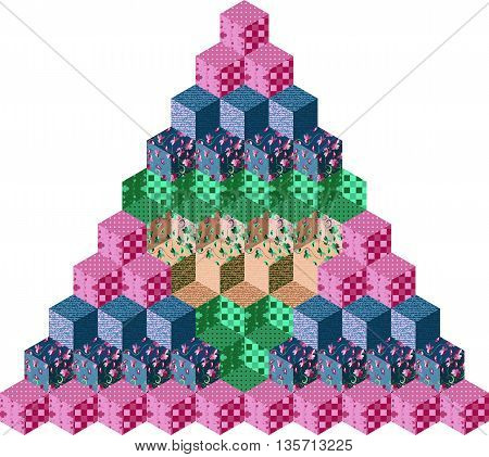 Pyramid from colorful patchwork cubes. Vector illustration.