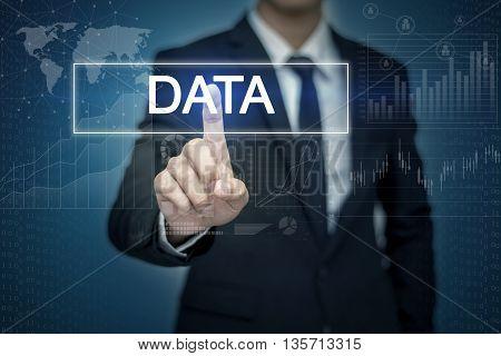 Businessman hand touching DATA button on virtual screen