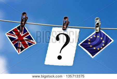 Brexit - what will happen now? Flags of the United Kingdom and the European Union and question mark