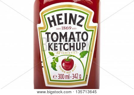 LONDON UK - MAY 6TH 2016: A close-up of the label on a jar of Heinz Tomato Ketchup isolated over a plain white background on 6th May 2016.