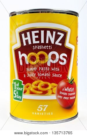 LONDON UK - MAY 6TH 2016: A tin of Heinz Spaghetti Hoops isolated over a plain white background on 6th May 2016.