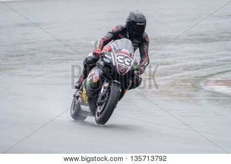 MOSCOW - JUNE 5: Unidentified rider participates in the Race Cup Moscow Region Governor on June 5, 2016 in Moscow Raceway