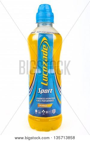 LONDON UK - MAY 6TH 2016: A close-up shot of a bottle of Lucozade Sport energy driink on 6th May 2016.